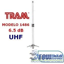 1486 Antena Base Fibra UHF, 6.5 db, Rango 406- 512 mhz.