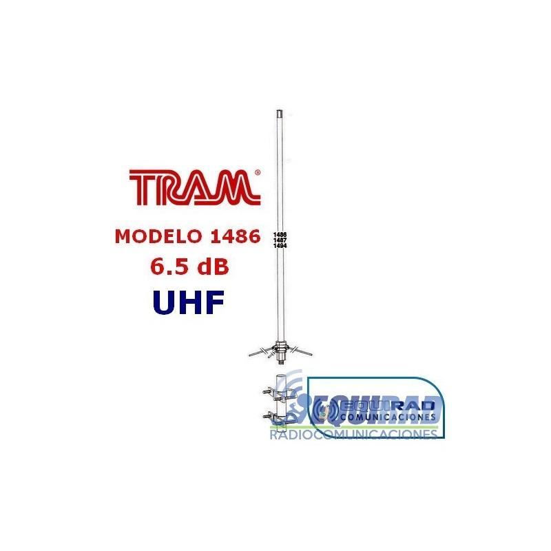 Antena Base Fibra UHF, 6.5 db, Rango 406- 512 mhz.