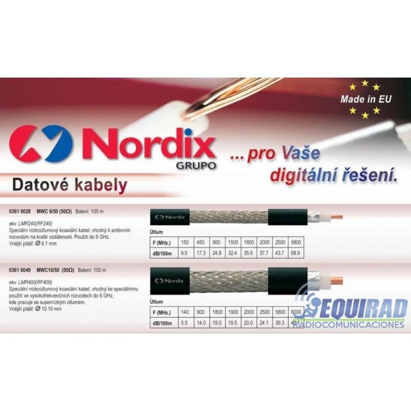 TZC500, LMR400, MWC-10/50, Nordix, Cable Coaxial, Baja Pérdida 50 ohm